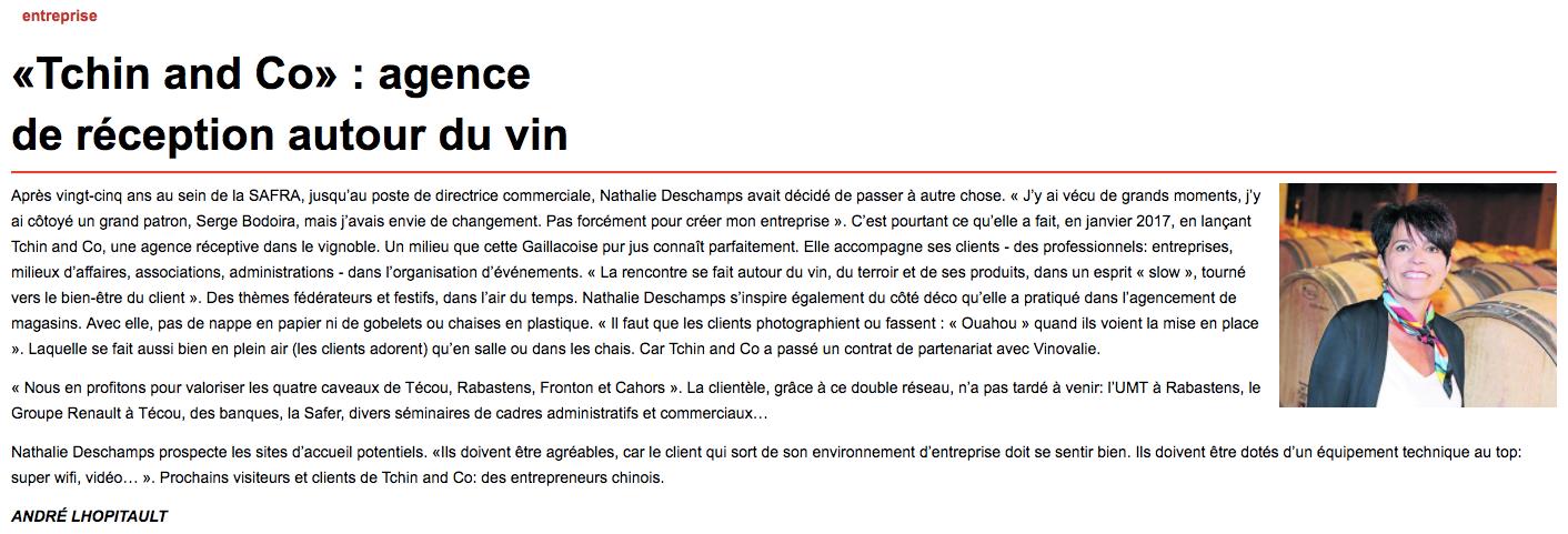 TCHIN&Co dans La Dépêche ! 1